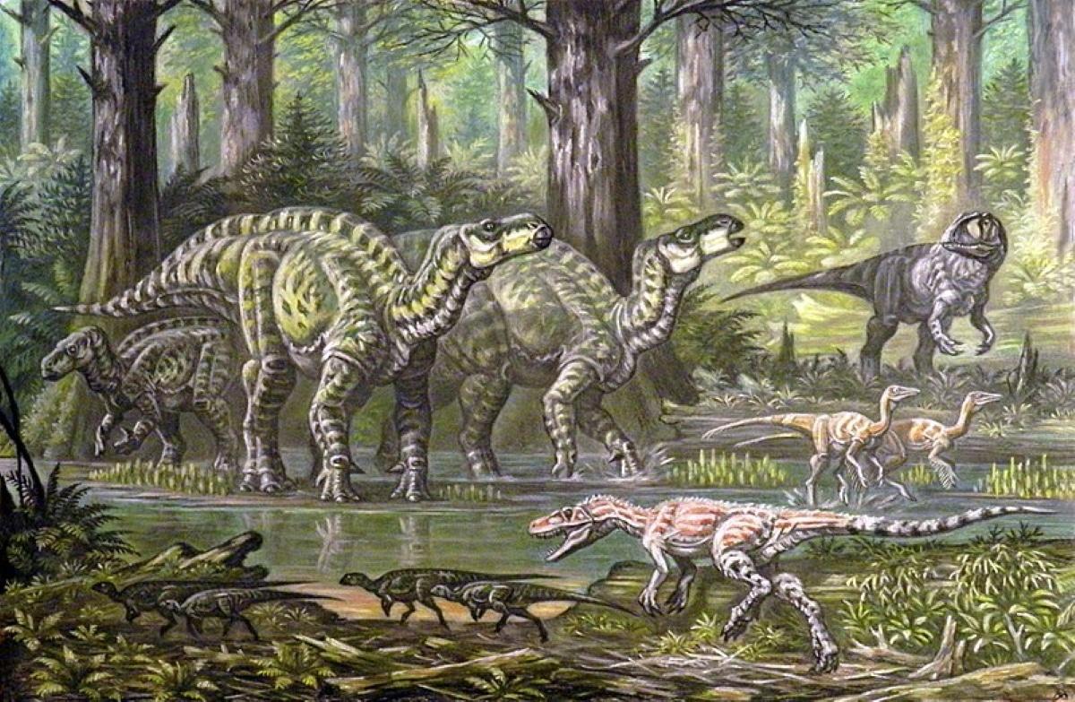 El iguanodon fue un dinosaurio gregario que se desplazaba en manadas